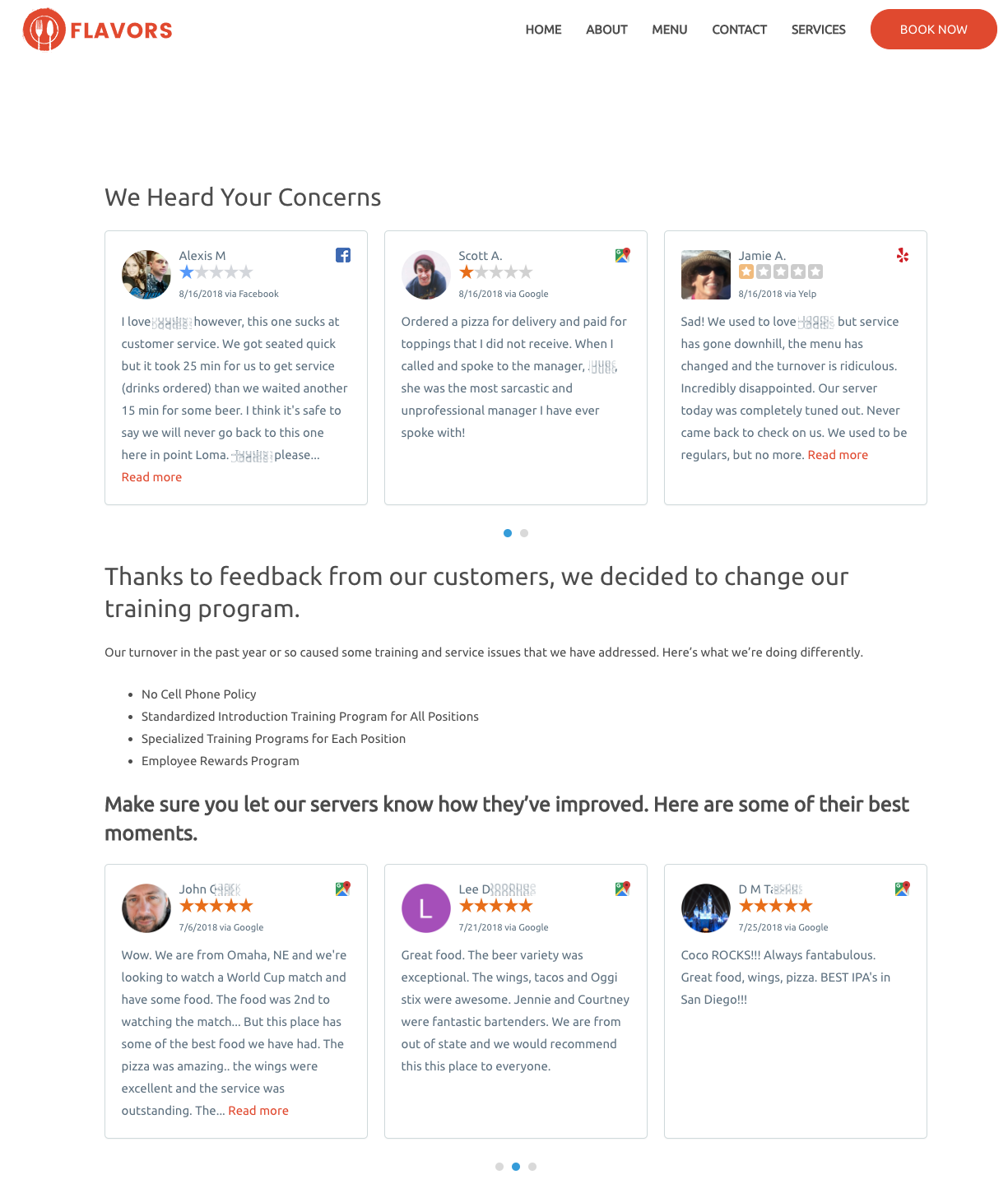 We Heard Your Concerns Page filled with negative reviews and a response to them.