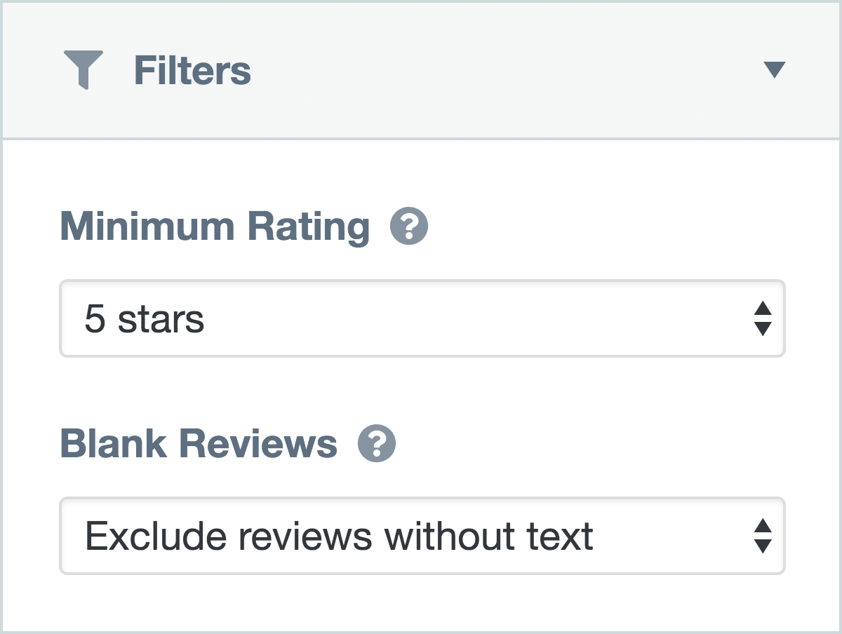 Filters to control which reviews are visible within a collection
