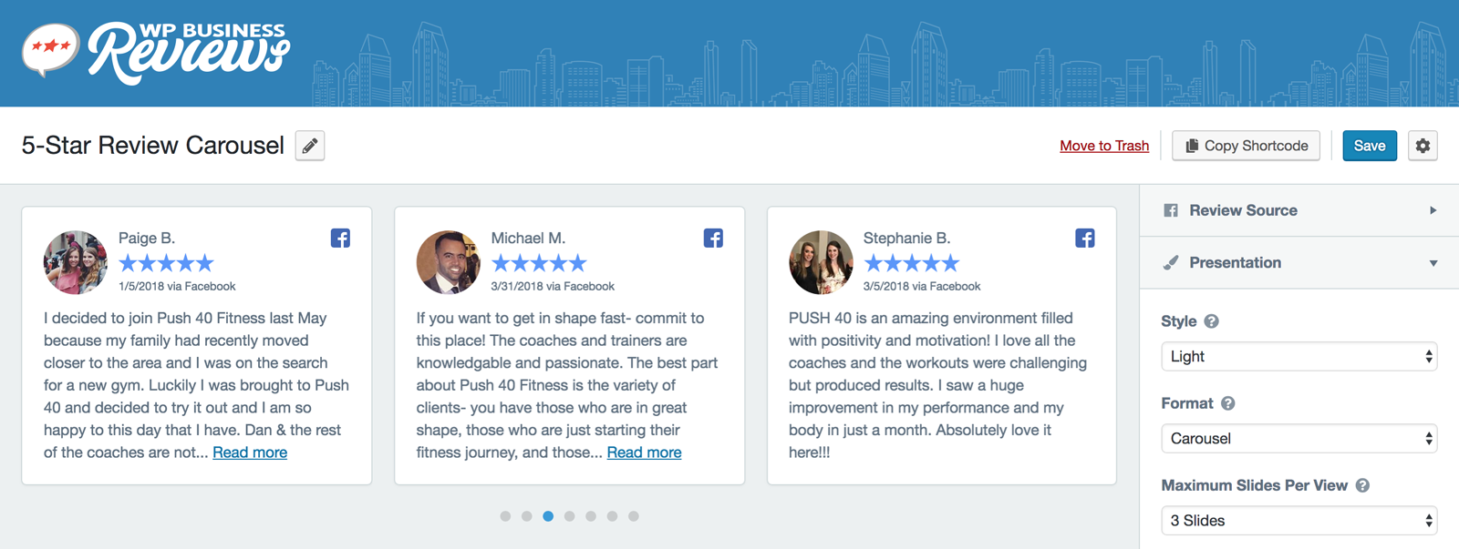 A carousel of reviews