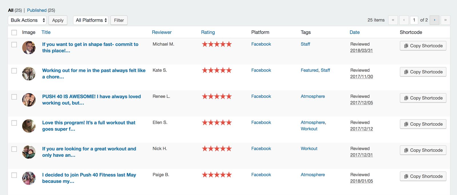 A list table of single reviews