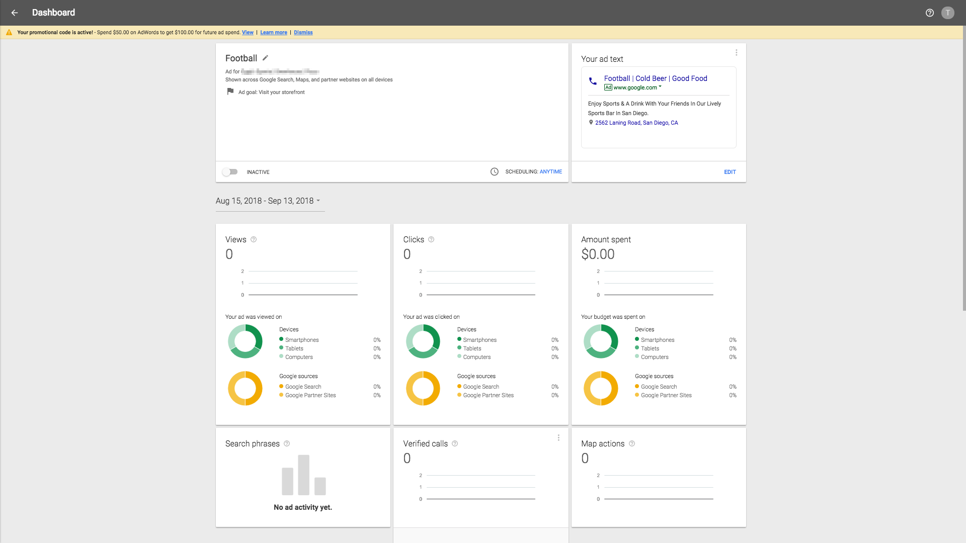 Adwords Express dashboard 1