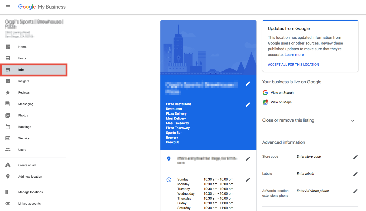 Info section of Google My Business Dashboard