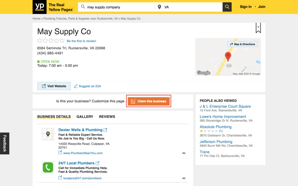 Claim an Existing Yellow Pages Business
