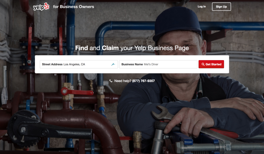 Yelp for Business Owners Home Page
