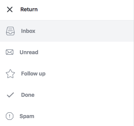Inbox types dropdown menu