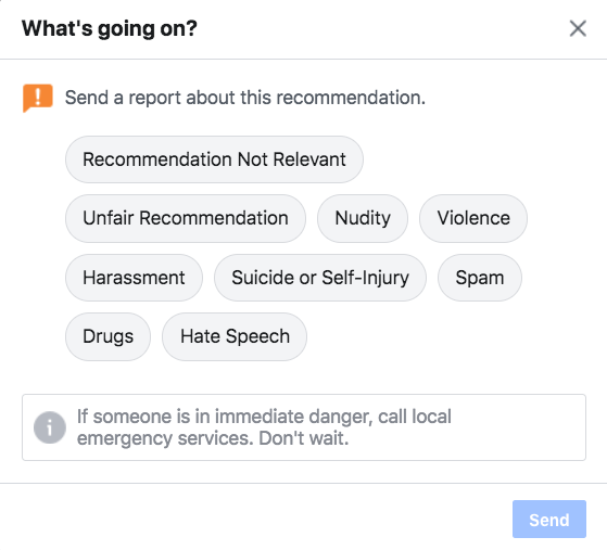 options for reporting a recommendation