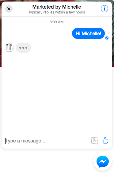 Facebook Messenger conversation on WordPress website