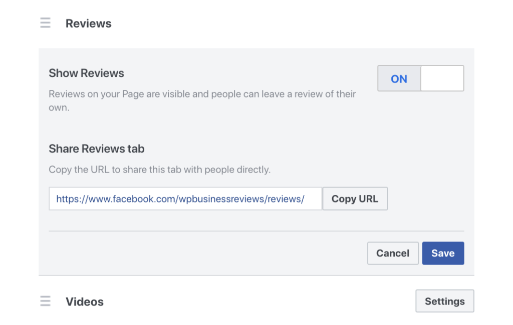 Find your facebook reviews Link in your settings