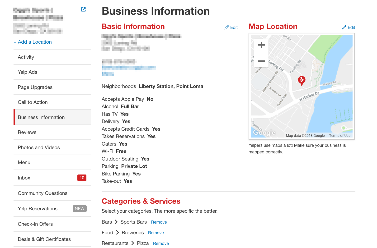 Yelp Biz Information Section