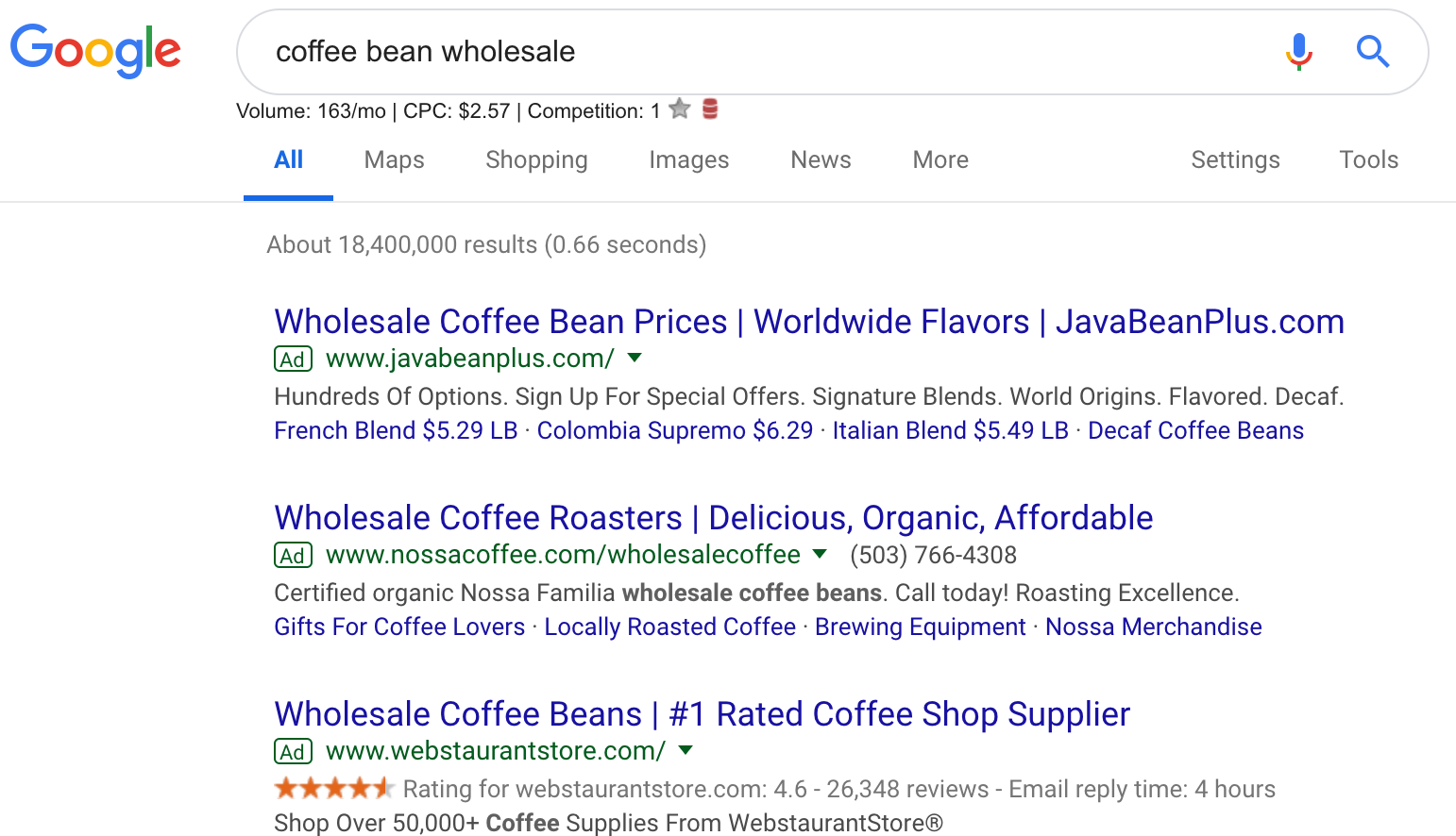 COFFEE BEAN WHOLESALE SEARCH RESULTS