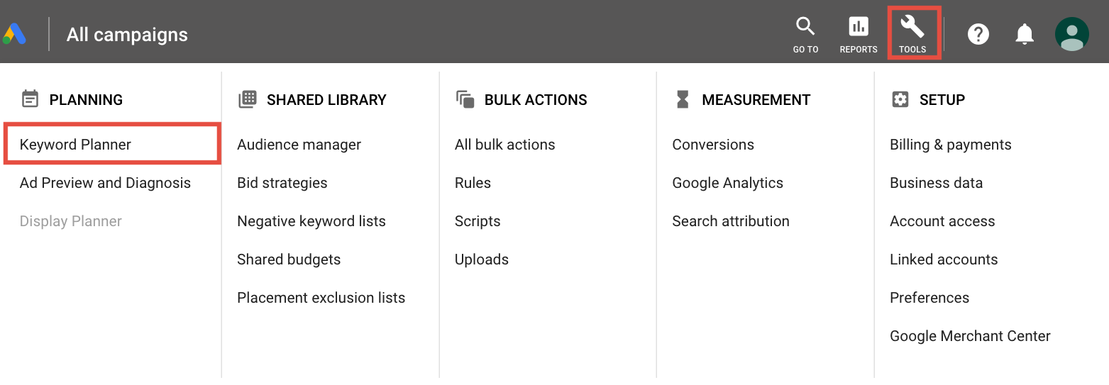 Navigation to find Google Adwords Keyword planner