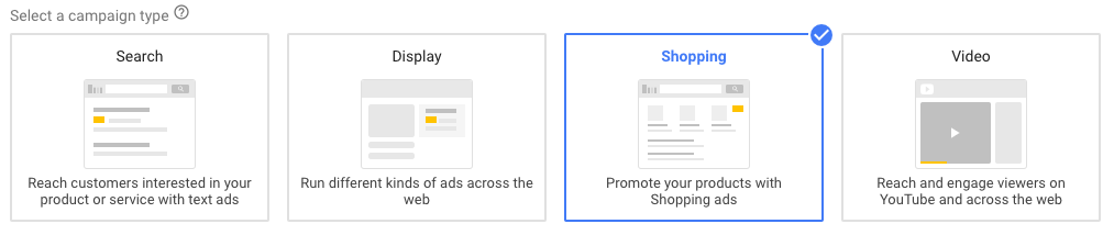 Google Adwords ad type choices