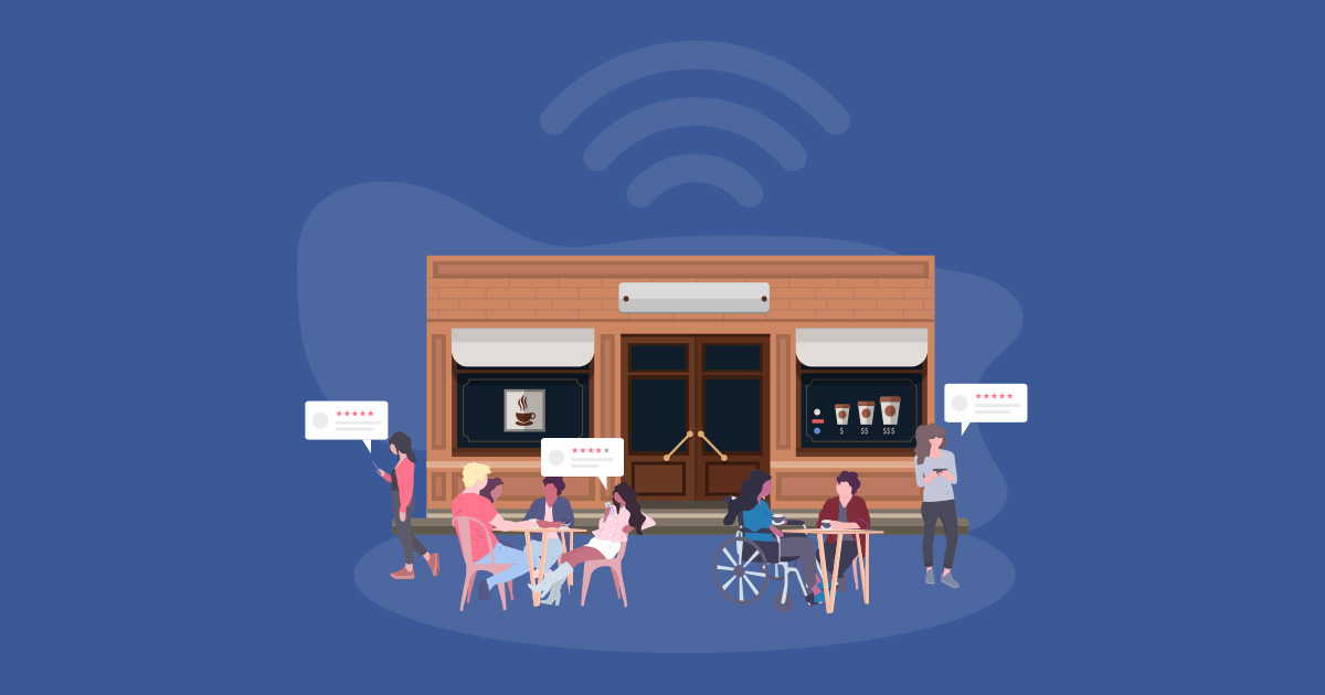 WiFi Marketing depicted as a wifi cafe.