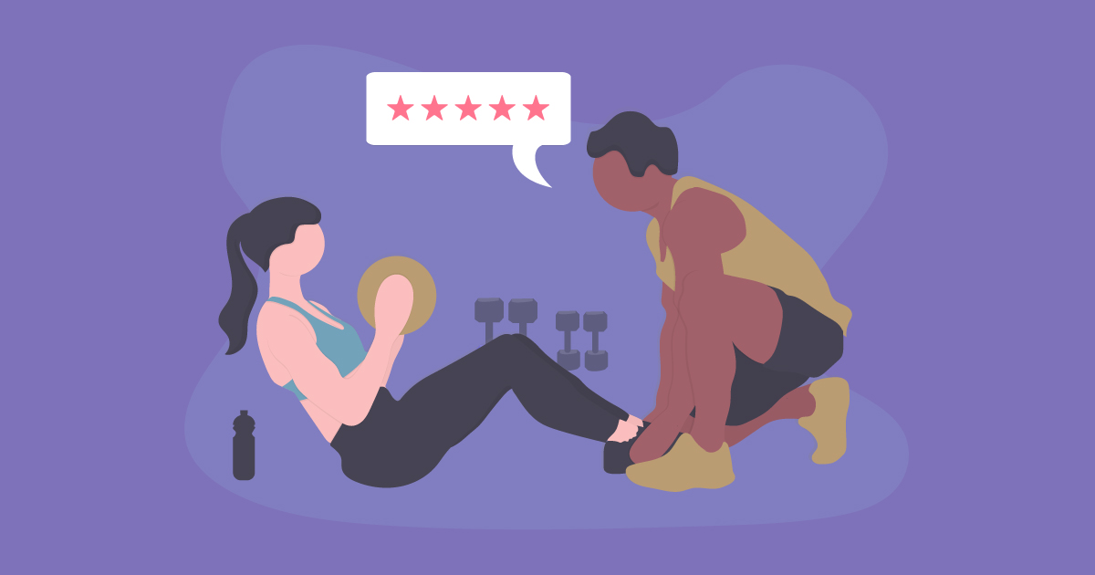 Personal trainer asking client to turn customer loyalty into a review.