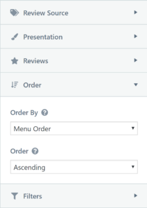 The WP Business Reviews Collections Order Setting