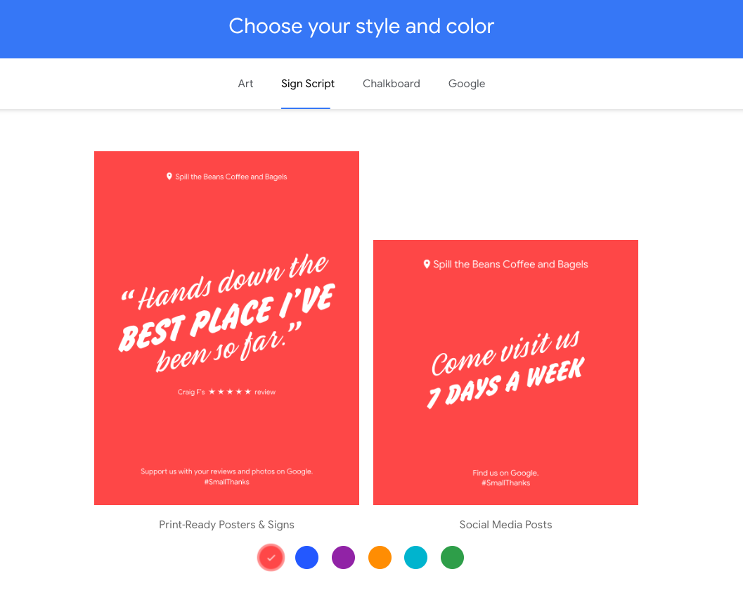 Choose a style for your Small Thanks with Google Kit.