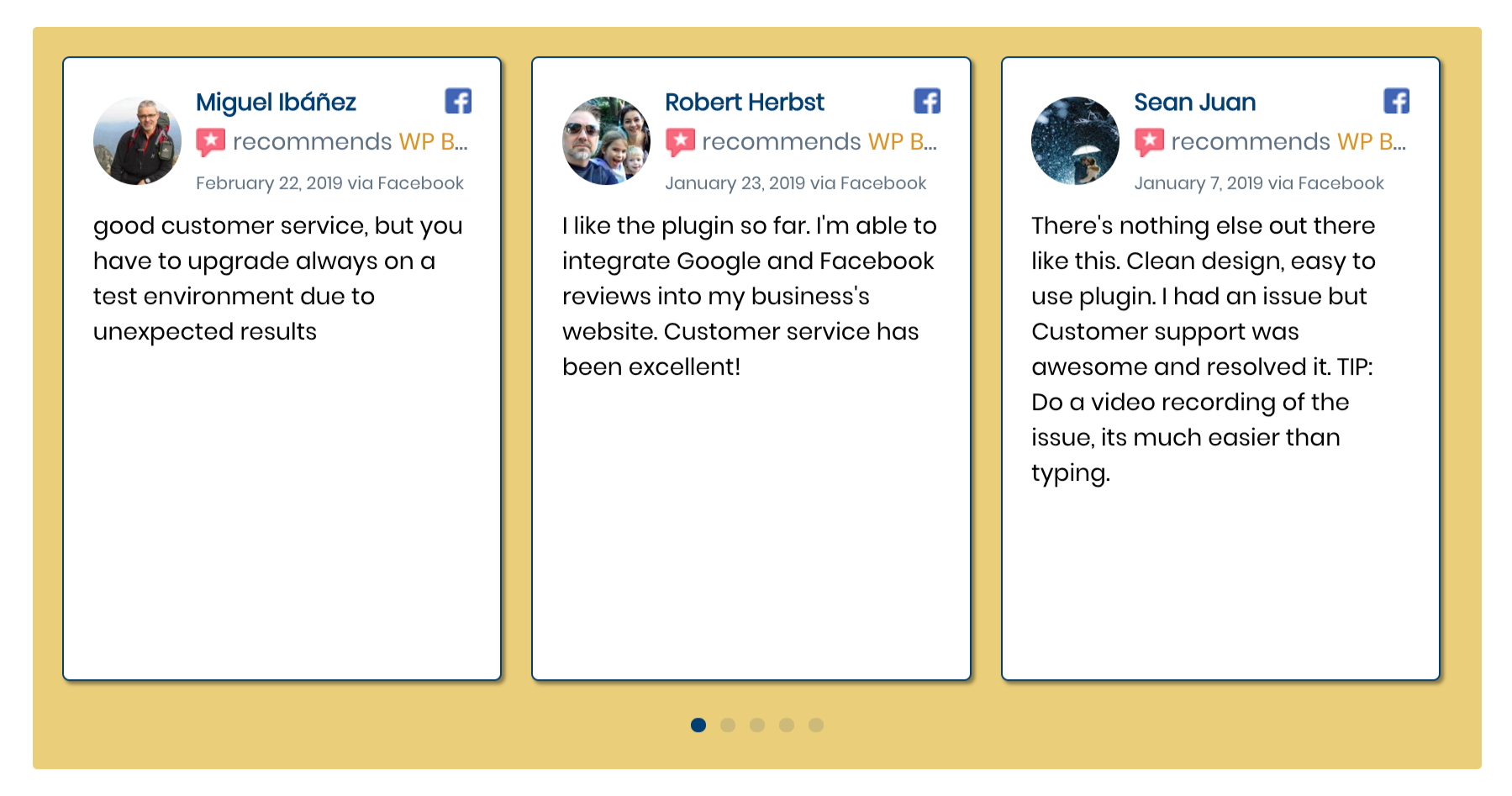 The code snippet creates a reviews carousel that has 3 reviews showing, displaying white review containers with blue borders that cast a shadow on a yellow backdrop. The blue navigation bullets are the same blue as the reviewer name.