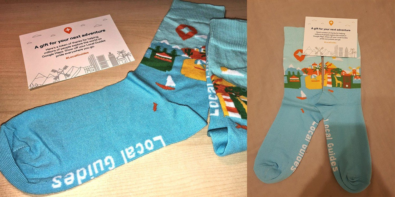 Google Local guide socks are sent to Local Guides when they reach a certain level.