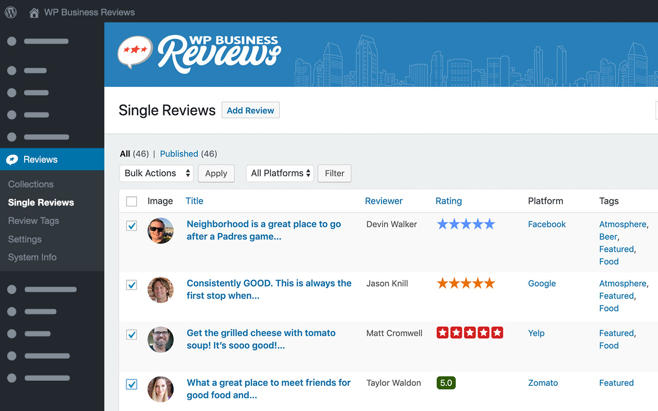 Review tags allow you to group reviews from any platform based on subject matter or quality and then display them together in a single collection
