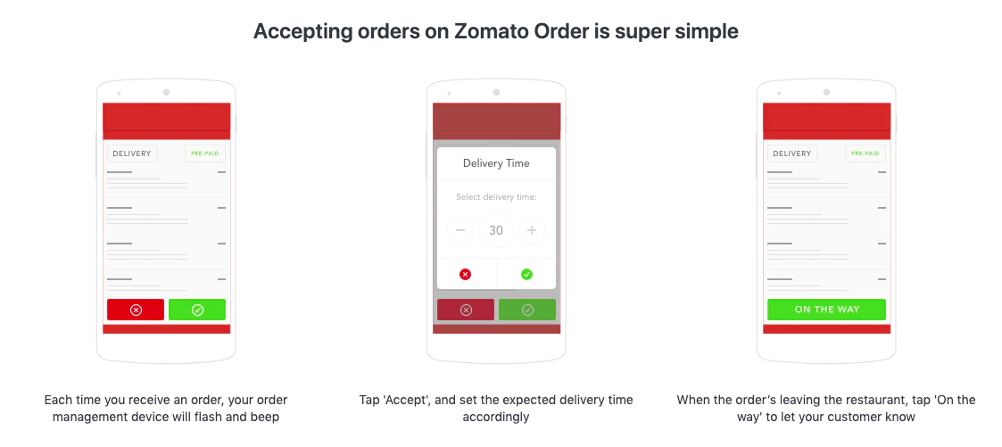 "Accepting orders on Zomato is super simple. Each time you receive an order, your order management device will flash and beep. Tap ""Accept"" and set the expected delivery time accordingly. When the order's leaving the restaurant, tap ""on the way"" to let your customer know."