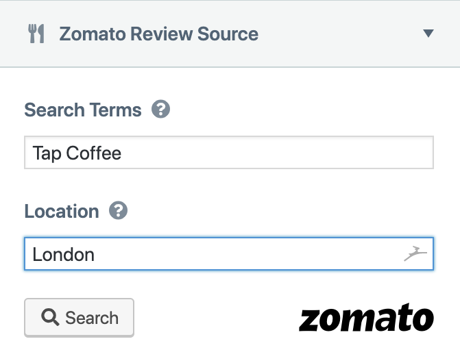 Zomato Review Source Search Term: Tap Coffee. Location: London.