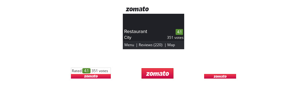 Zomato provides four different widgets for bloggers to embed on a food blog.
