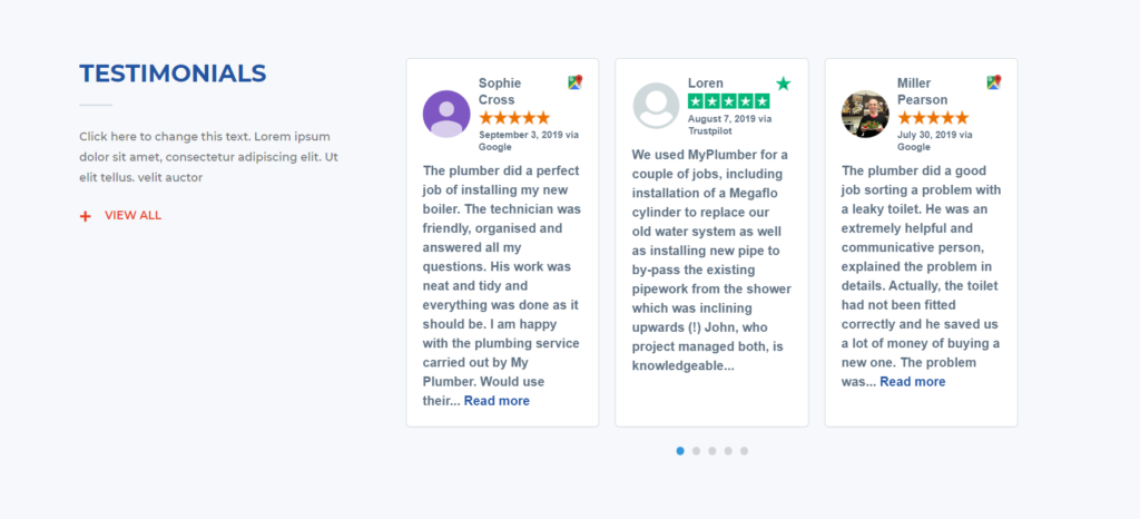 Trustpilot reviews go easily alongside your reviews from other platforms.