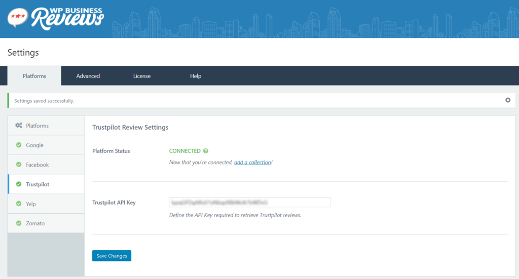 Enter your Trustpilot API in the WP Business Reviews Settings dashboard.