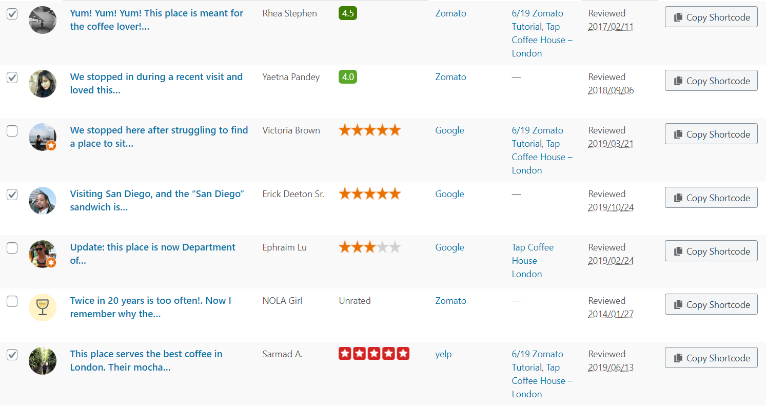 Choose all the reviews you want to add to your WordPress website in one single collection.
