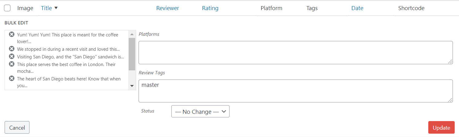 Add your chosen tag to multiple online reviews at one time using the bulk edit feature on the single collection screen.