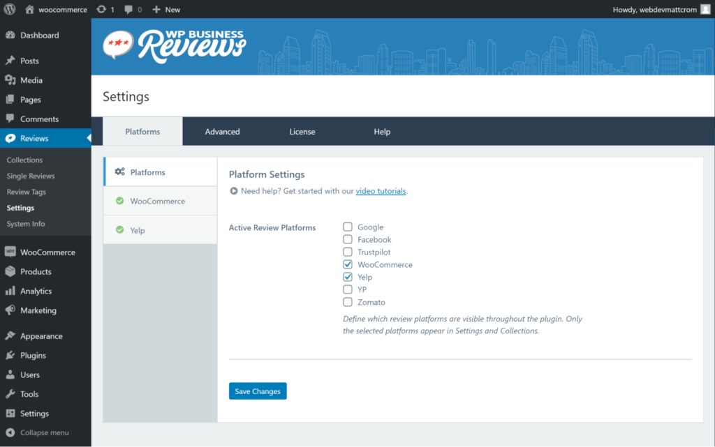 Activate WooCommerce Reviews from platforms section of your WP Business Reviews settings panel in the WordPress Dashboard.