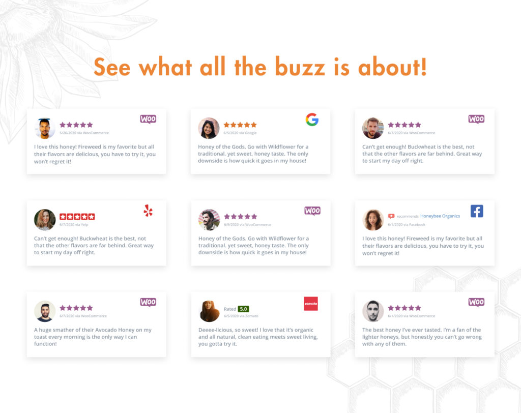 Mix and match WooCommerce product reviews with Facebook Recommendations, Zomato, Yelp, and Google Reviews.
