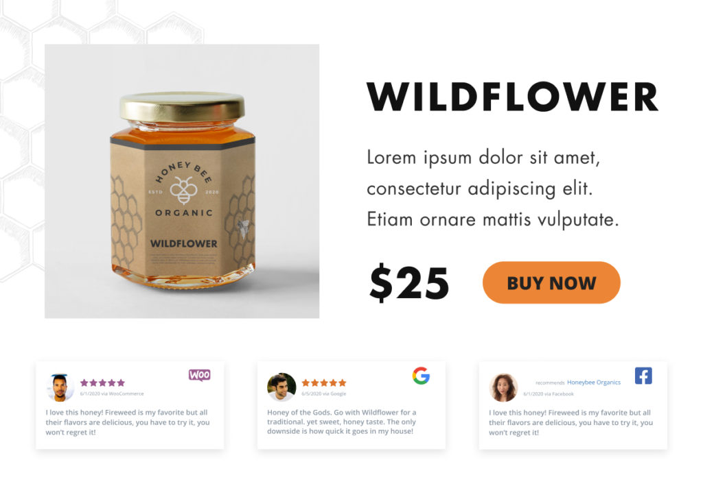 WooCommerce Product Description areas or product page hooks can be used to embed a WP Business Reviews collection with content from Facebook Recommendations and Google Reviews together with WooCommerce Product Reviews.