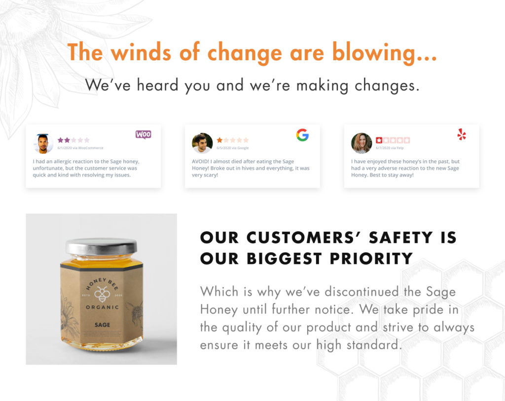 "Each review embedded with WP Business Reviews on the page titled ""The winds of change are blowing... we heard you and we're making changes"" lead into a discontinued product announcement."