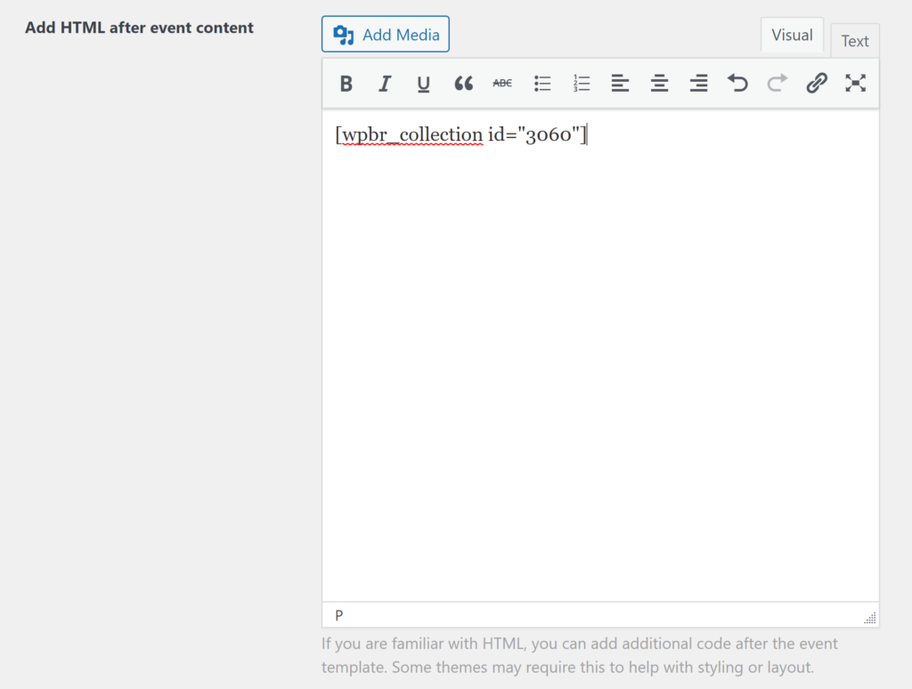 A WPBR collection shortcode is in the field to add HTML after content.