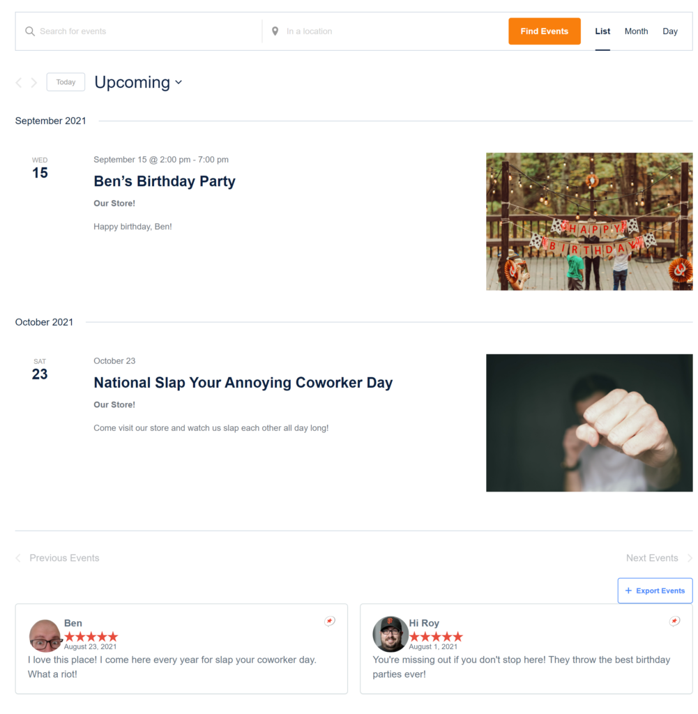 The events calendar page shows two reviews below the events, each of which mention parties.